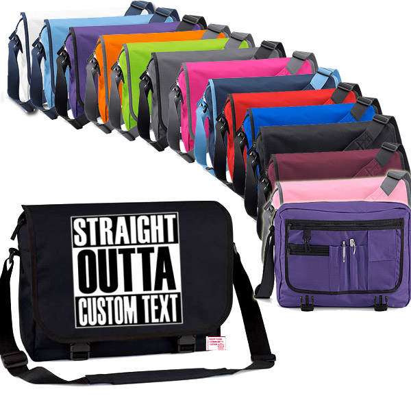 Straight Outta Custom Text Messenger Bag